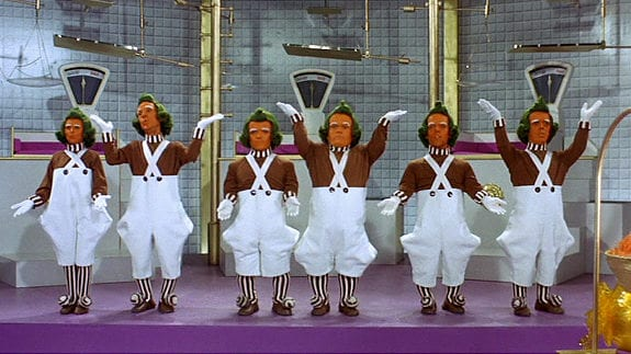 Video still from the 1971 movie Willy Wonka & the Chocolate Factory.  Pictured here, the Oompa Loompa's dancing. Credit:  Paramount Pictures/Handout