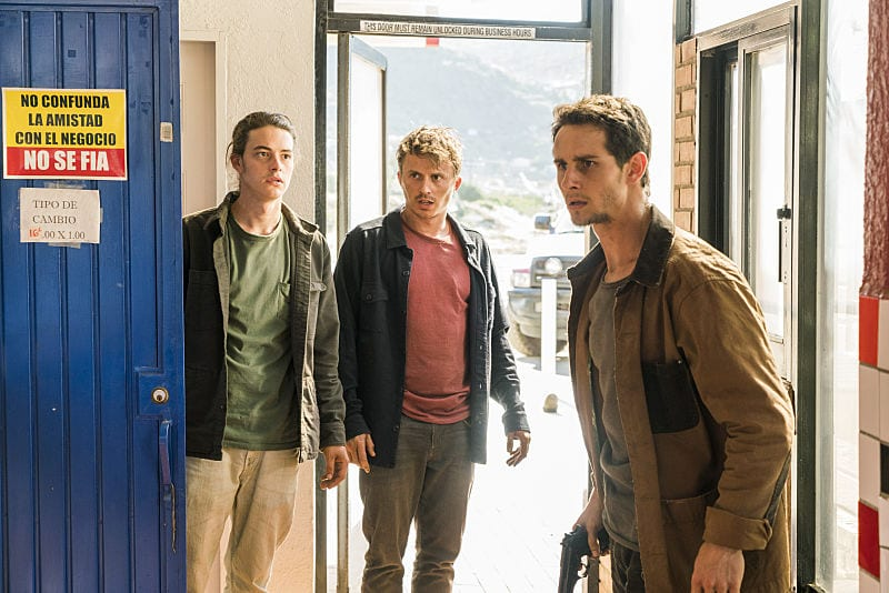 Kelly Blatz as Brandon Luke, Kenny Wormald as Derek, Israel Broussard as James - Fear The Walking Dead _ Season 2, Episode 10 - Photo Credit: Richard Foreman Jr/AMC