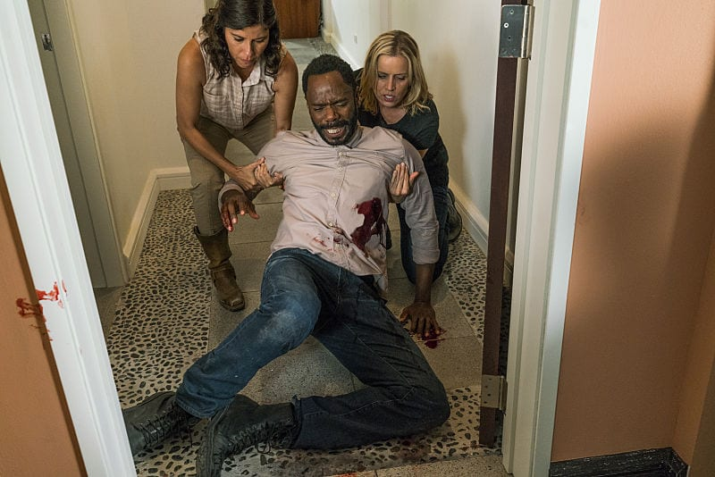 Colman Domingo as Victor Strand, Kim Dickens as Madison Clark, Karen Bethzabe as Elena - Fear the Walking Dead _ Season 2, Episode 12 - Photo Credit: Richard Foreman Jr/AMC