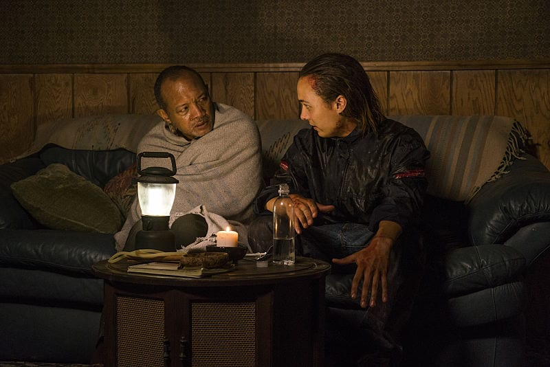 Frank Dillane as Nick Clark, Paul Calderon as Alejandro - Fear the Walking Dead _ Season 2, Episode 15 - Photo Credit: Peter Iovino/AMC