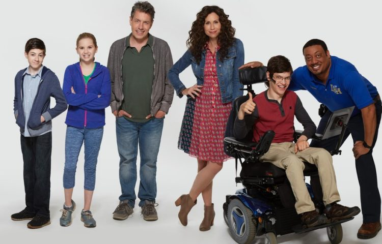Ray DiMeo (Mason Cook),Dylan DiMeo (Kyla Kenedy), Jimmy DiMeo (John Ross Bowie), Maya DiMeo (Minnie Driver), J.J. DiMeo (Micah Fowler), and Kenneth (Cedric Yarbrough) of Speechless on ABC Photo credit: ABC/Speechless