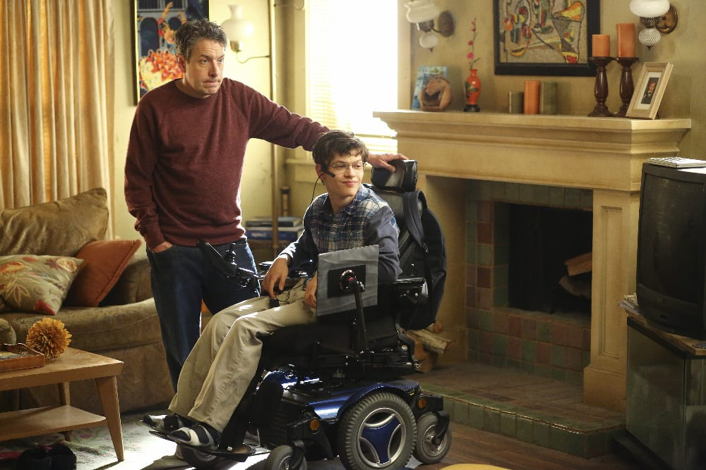 """SPEECHLESS - """"S-I--SICK D-A--DAY"""" - When Maya gets sick, Jimmy is forced to be the mom of the house, and Dylan becomes Kenneth's replacement for JJ when Kenneth also gets sick. Jimmy ends up doing well with Maya's normal duties, but he tries to keep it from her to avoid her feeling bad. Meanwhile, JJ protects Dylan from a boy she's interested in. And despite its illness, the family bands together and pulls an all-nighter to finish Ray's school project, on """"Speechless,"""" WEDNESDAY, JANUARY 18 (8:30-9:00 p.m. EST), on the ABC Television Network. (ABC/Michael Ansell) JOHN ROSS BOWIE, MICAH FOWLER"""
