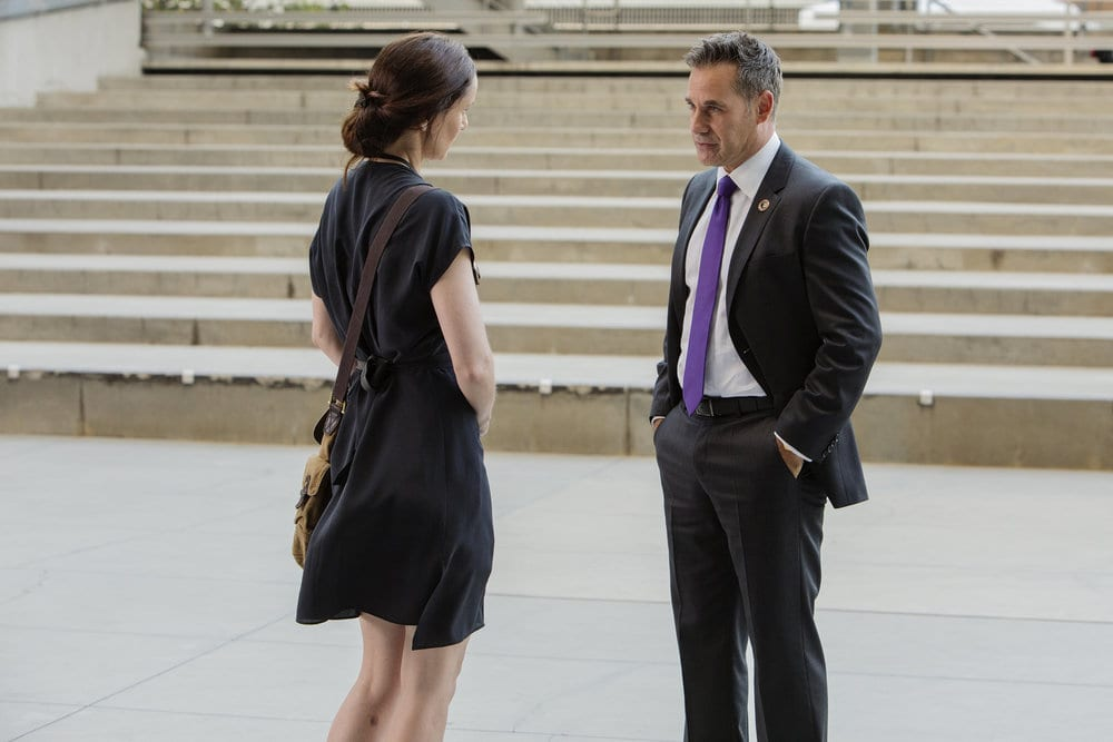 "COLONY -- ""Somewhere Out there"" Episode 202 -- Pictured: (l-r) Sarah Wayne Callies as Katie Bowman, Adrian Pasdar as Nolan -- (Photo by: Jack ZemanUSA Network)"