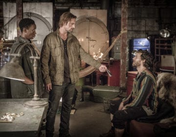 """COLONY -- """"Somewhere Out There"""" Episode 202 -- Pictured: (l-r) Carolyn Michelle Smith as Devon, Josh Holloway as Will Bowman, Johnny Whitworth as Solomon -- (Photo by: Isabella Vosmikova/USA Network)"""