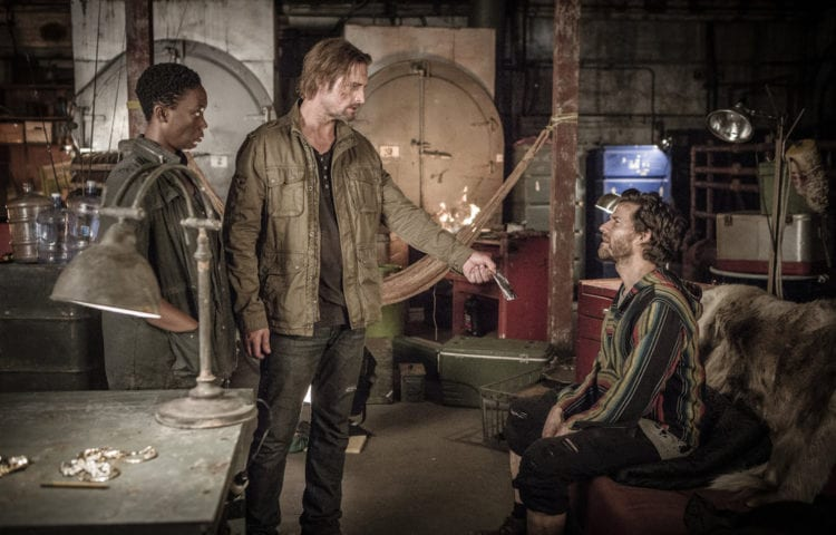 "COLONY -- ""Somewhere Out There"" Episode 202 -- Pictured: (l-r) Carolyn Michelle Smith as Devon, Josh Holloway as Will Bowman, Johnny Whitworth as Solomon -- (Photo by: Isabella Vosmikova/USA Network)"