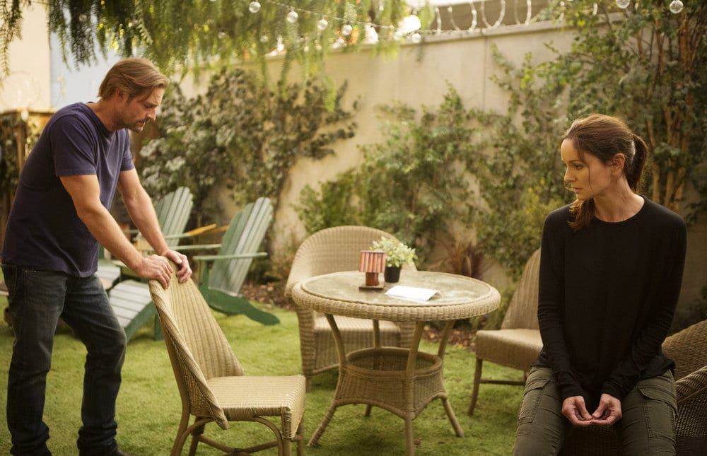 "COLONY -- ""Panopticon"" Episode 204 -- Pictured: (l-r) Josh Holloway as Will Bowman, Sarah Wayne Callies as Katie Bowman -- (Photo by: Isabella Vosmikova/USA Network)"