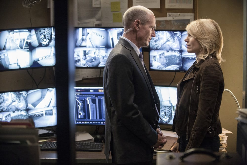 "COLONY -- ""Panopticon"" Episode 204 -- Pictured: (l-r) Toby Huss as Bob Burke, Kathleen Rose Perkins as Jennifer McMahon -- (Photo by: Isabella Vosmikova/USA Network)"