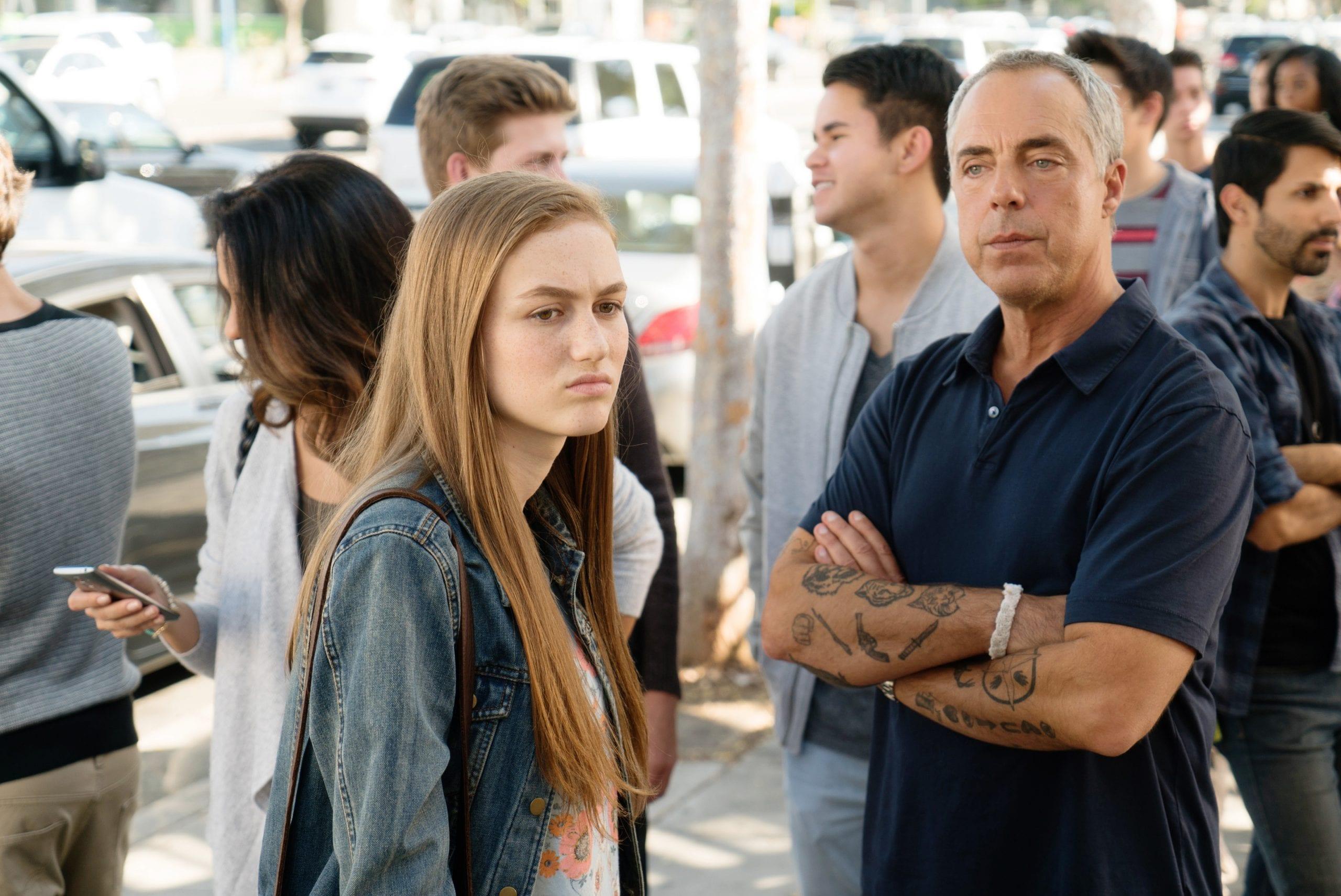 """Bosch: Season 3"" - (L to R) Madison Lintz as Maddie Bosch, Titus Welliver as Harry Bosch"