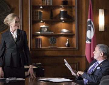 "COLONY -- ""Tamam Shud"" Episode 209 -- Pictured: (l-r) Ally Walker as Helena, Tony Plana as Proxy Alcala -- (Photo by: Isabella Vosmikova/USA Network)"