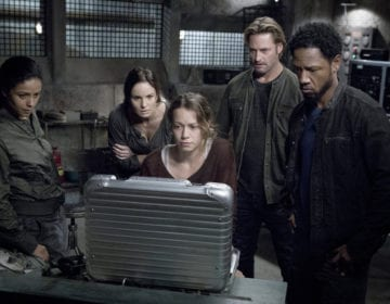 "COLONY -- ""Seppuku"" Episode 212 -- Pictured: (l-r) Meta Golding as Noa, Sarah Wayne Callies as Katie Bowman, Bethany Joy Lenz as Morgan, Josh Holloway as Will Bowman, Tory Kittles as Broussard -- (Photo by: Isabella Vosmikova/USA Network)"