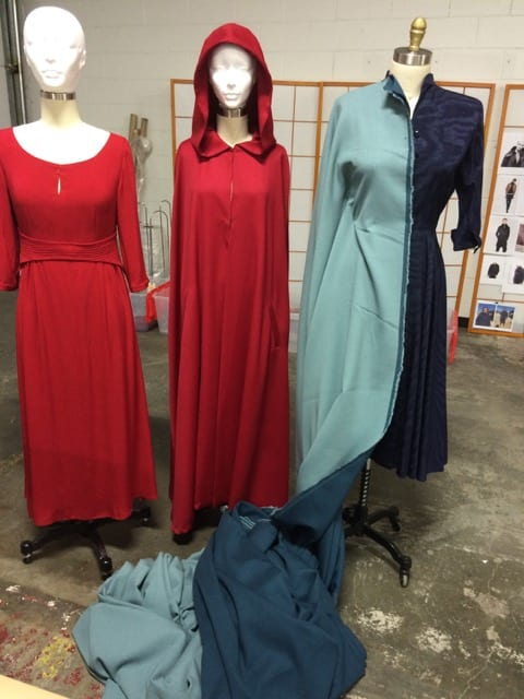 Early dresses and capes for Offred and Serena Joy for The Handmaid's Tale on Hulu Photo credit: Ane Crabtree