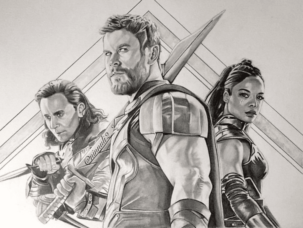 Loki, Thor, Valkyrie, Tom Hidddleston, Chris Hemsworth, Tessa Thompson