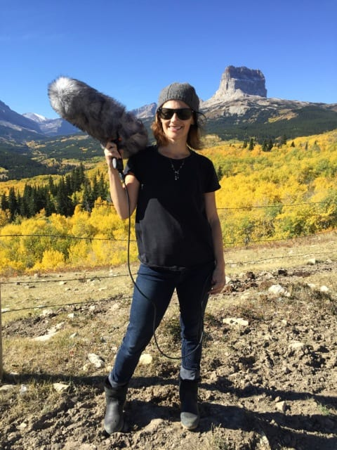 Sarah Clarke filling in for sound crew on the set of Buffalo Resurrection