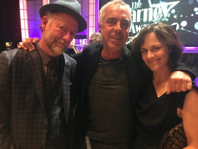 Sarah Clarke (right) with her actual husband Xander Berkeley (left) and Titus Welliver (middle) who plays her fictional ex-husband Harry Bosch on the Amazon Prime original series Bosch. Titus presented Xander a Carney Award.