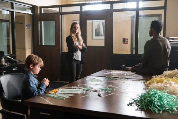 "COLONY -- ""Puzzle Man"" Episode 302 -- Pictured: (l-r) Liam Hughes as Owen, Hannah Levien as Claire, Tory Kittles as Broussard -- (Photo by: Daniel Power/USA Network)"