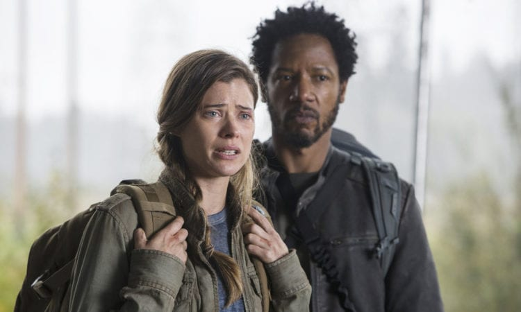 "COLONY -- ""Mixed Signals"" Episode 303 -- Pictured: (l-r) Peyton List as Amy Leonard, Tory Kittles as Broussard -- (Photo by: James Dittinger/USA Network)"