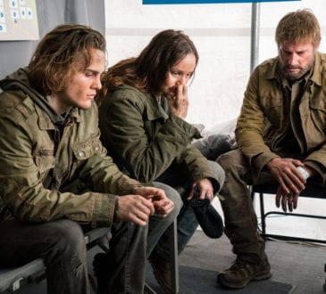 "COLONY -- ""The Emerald City"" Episode 306 -- Pictured: (l-r) Alex Neustaedter as Bram Bowman, Sarah Wayne Callies as Katie Bowman, Josh Holloway as Will Bowman -- (Photo by: Daniel Power/USA Network)"