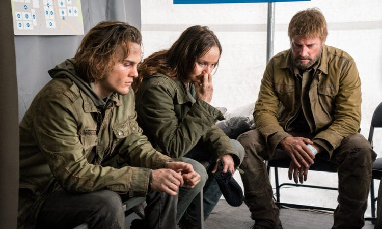 """COLONY -- """"The Emerald City"""" Episode 306 -- Pictured: (l-r) Alex Neustaedter as Bram Bowman, Sarah Wayne Callies as Katie Bowman, Josh Holloway as Will Bowman -- (Photo by: Daniel Power/USA Network)"""