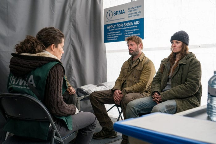 """COLONY -- """"The Emerald City"""" Episode 306 -- Pictured: (l-r) Josh Holloway as Will Bowman, Sarah Wayne Callies as Katie Bowman -- (Photo by: Daniel Power/USA Network)"""