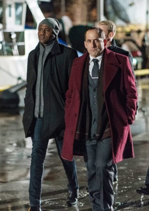 "COLONY -- ""Lazarus"" Episode 308 -- Pictured: (l-r) Wayne Brady as Everett Kynes, Peter Jacobson as Proxy Alan Snyder -- (Photo by: Daniel Power/USA Network)"