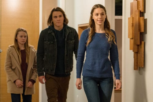 """COLONY -- """"Sea Spray"""" Episode 310 -- Pictured: (l-r) Isabella Crovetti-Cramp as Grace Bowman, Alex Neustaedter as Bram Bowman, Elise Gatien as Meadow -- (Photo by: Daniel Power/USA Network)"""