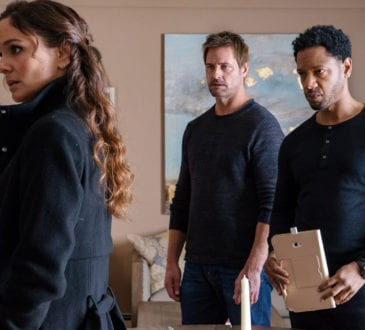 "COLONY -- ""Disposable Heroes"" Episode 311 -- Pictured: (l-r) Sarah Wayne Callies as Katie Bowman, Josh Holloway as Will Bowman, Tory Kittles as Broussard -- (Photo by: Daniel Power/USA Network)"