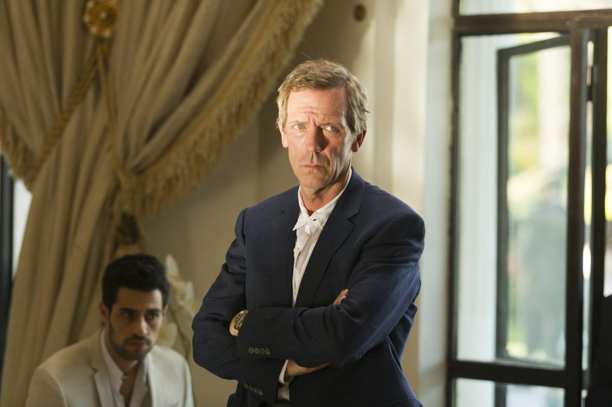 Hugh Laurie as Richard Roper; David Avery as Freddie Hamid; group- The Night Manager _ Season 1, Episode 6-