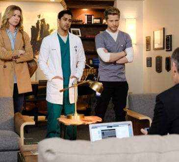 "THE RESIDENT: L-R: Emily VanCamp, Manish Dayal and Matt Czuchry in the ""Total Eclipse of the Heart"" season finale episode of THE RESIDENT airing Monday, May 14 (9:00-10:00 PM ET/PT) on FOX. ©2018 Fox Broadcasting Co."