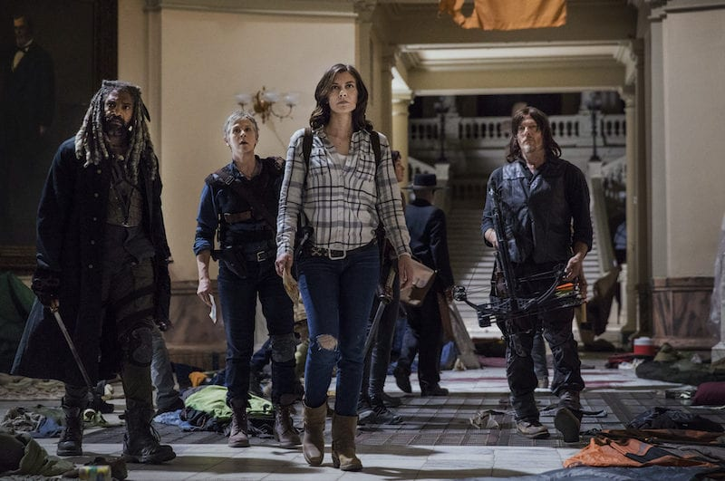 Khary Payton as Ezekiel, Melissa McBride as Carol Peletier, Lauren Cohan as Maggie Rhee, Norman Reedus as Daryl Dixon - The Walking Dead _ Season 9, Episode 1 - Photo