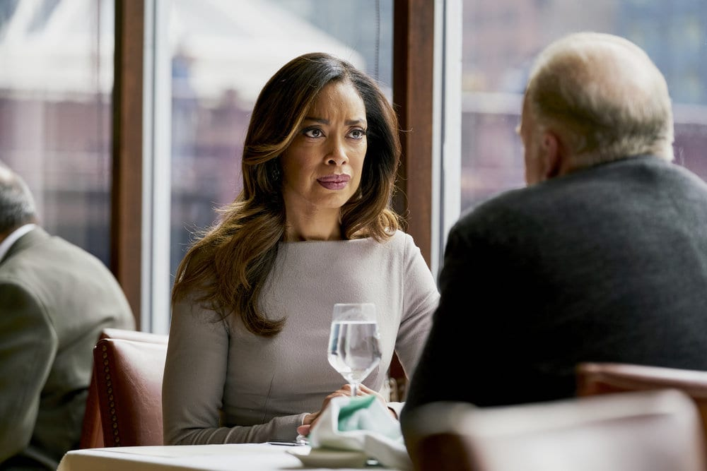 """SUITS -- """"Good-Bye"""" Episode 716 -- Pictured: Gina Torres as Jessica Pearson -- (Photo by: Parrish Lewis/USA Network)"""
