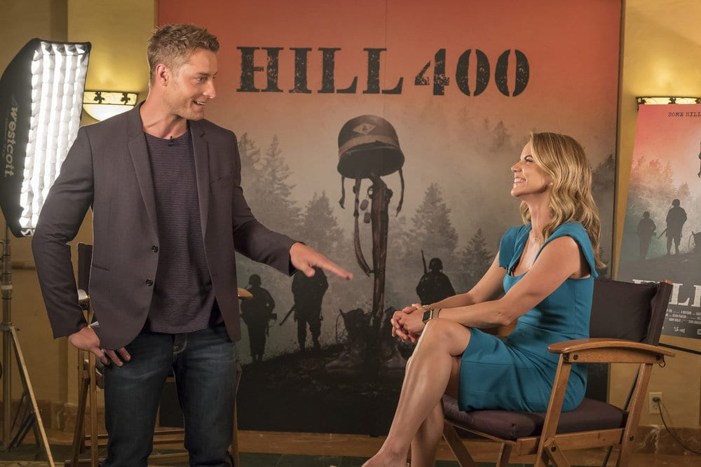 """THIS IS US -- """"Ave Maria"""" Episode 301 -- Pictured: (l-r) Justin Hartley as Kevin, Natalie Morales as herself -- (Photo by: Ron Batzdorff/NBC)"""