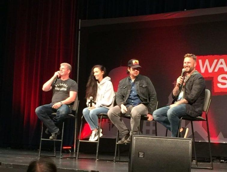 Michael Cudlitz, Christian Serratos, Josh McDermitt, and moderator James Frazier at Walker Stalker Atlanta 2018 photo credit: Tameche Brown