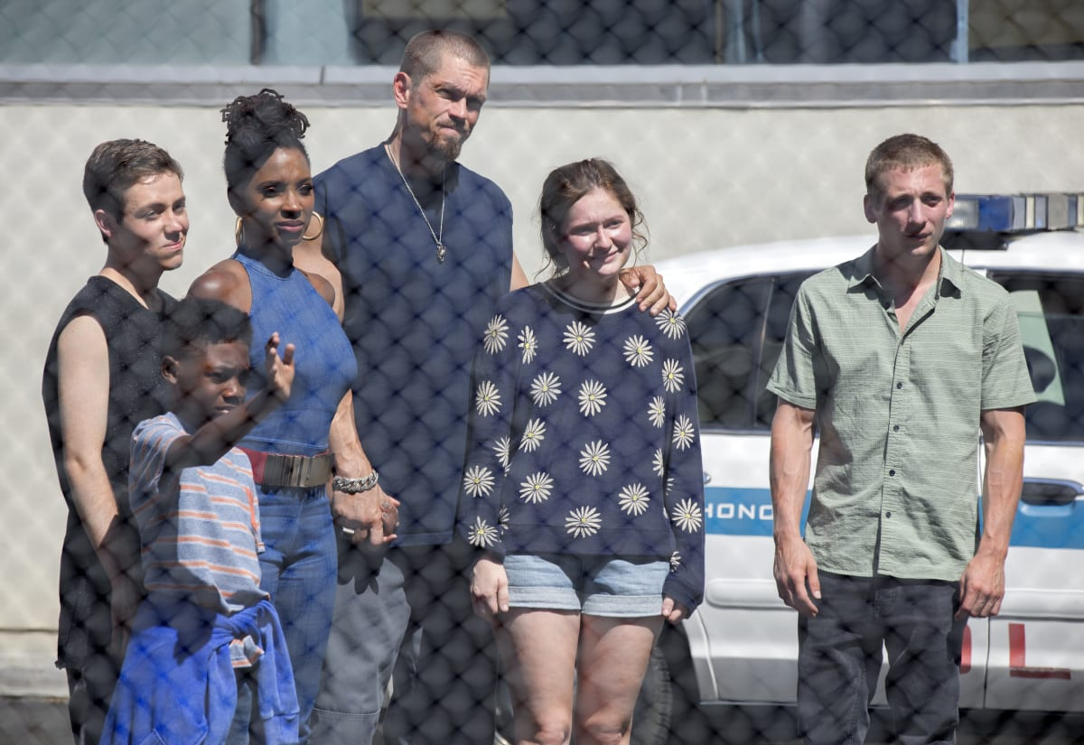 Christian Isaiah as Liam Gallagher, Ethan Cutkosky as Carl Gallagher, Shanola Hampton as V, Steve Howey as Kev, Emma Kenney as Debbie Gallagher and Jeremy Allen White as Lip Gallagher in SHAMELESS (Season 9, Episode 06,