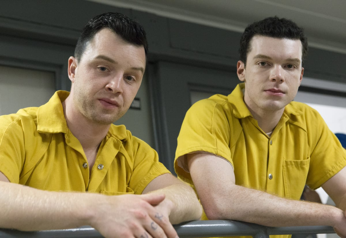 "Noel Fisher as Mickey and Cameron Monaghan as Ian Gallagher in SHAMELESS (Season 9, Episode 06, ""Face It, You're Gorgeous""). -"