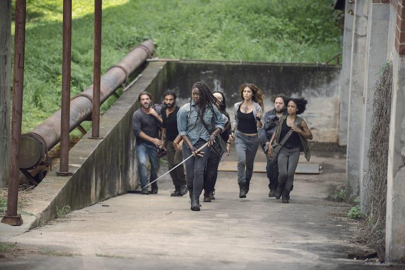 Danai Gurira as Michonne, Avi Nash as Siddiq, Matt Mangum as DJ, Nadia Hilker as Magna, Lauren Ridloff as Connie, Dan Folger as Luke- The Walking Dead _ Season 9, Episode 7 -