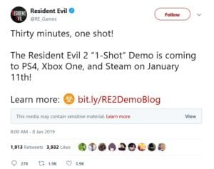 Photo Credit: Resident Evil's Official Twitter