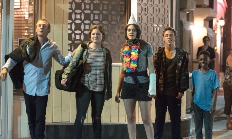 "Jeremy Allen White as Lip Gallagher, Emma Kenney as Debbie Gallagher, Emmy Rossum as Fiona Gallagher, Ethan Cutkosky as Carl Gallagher and Christian Isaiah as Liam Gallagher in SHAMELESS (Season 9, Episode 07, ""Down Like the Titanic""). -"