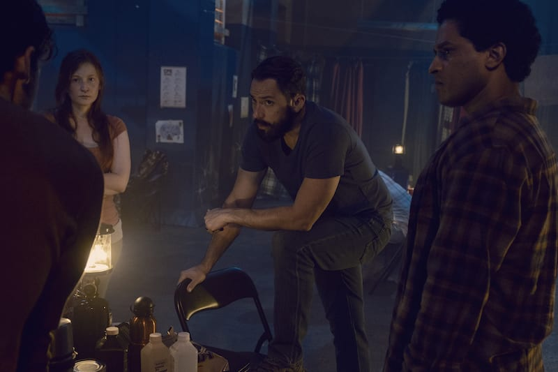 Ashlyn Stallings as Amanda, Steve Kazee as Frank, Javier Carrasquillo as Matias - The Walking Dead _ Season 9, Episode 10 -