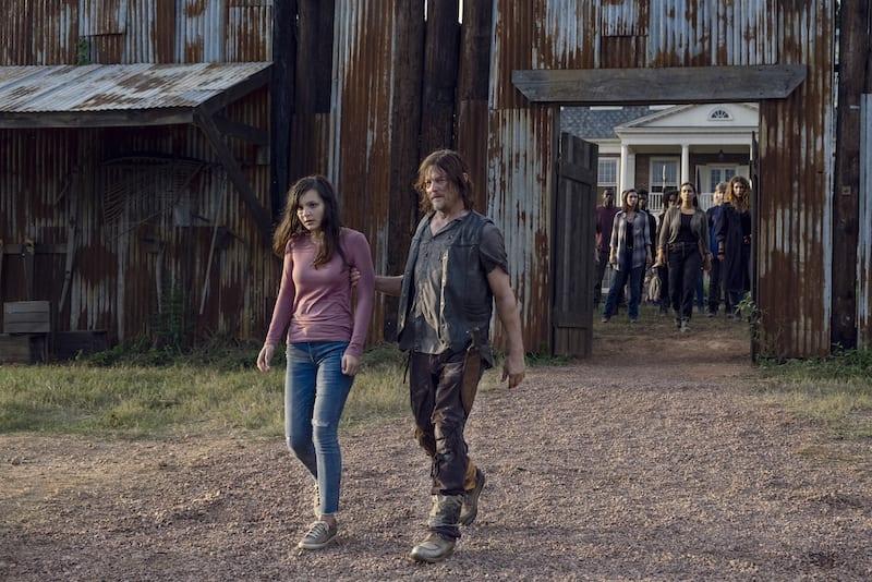 Norman Reedus as Daryl Dixon, Alanna Masterson as Tara Chambler, Katelyn Nacon as Enid, Cassady McClincy as Lydia- The Walking Dead _ Season 9, Episode 11 -