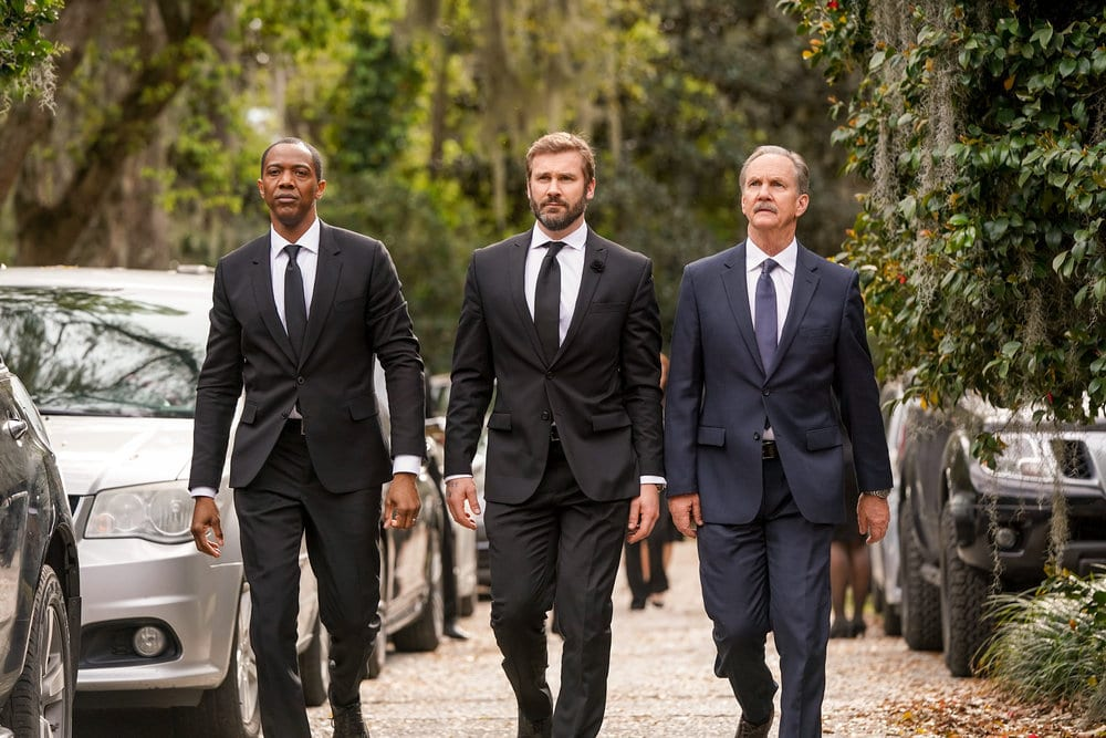 "COUNCIL OF DADS -- ""Pilot"" Episode -- Pictured: (l-r) J. August Richards as Dr. Oliver Post, Clive Standen as Anthony Lavelle, Michael O'Neill as Larry Malvern --"
