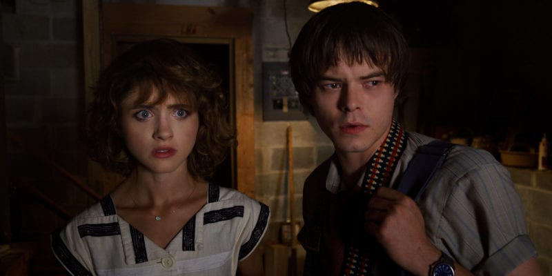 Charlie Heaton and Natalia Dyer in Stranger Things 3 photo credit: Netflix