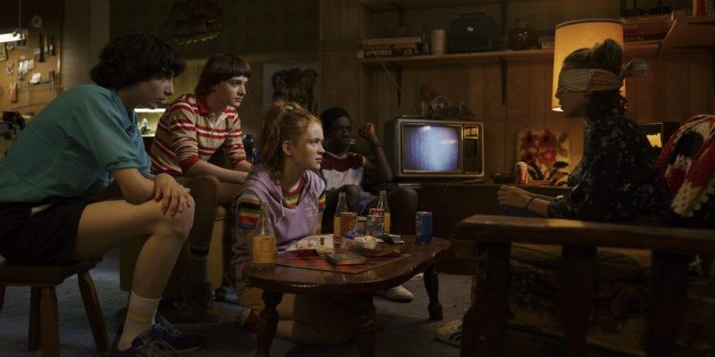 Finn Wolfhard, Noah Schnapp, Sadie Sink, Caleb McLaughlin, Millie Bobby Brown, Sadie Sink in Stranger Things 3 photo credit: Netflix